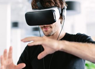 Person using a VR headset.