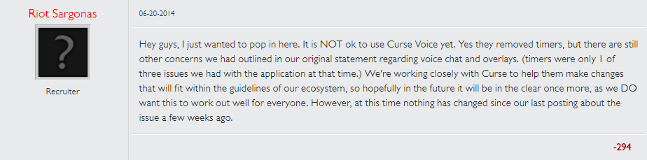 Riot staff explaining, in 2014, that players were not to use Curse during gameplay.
