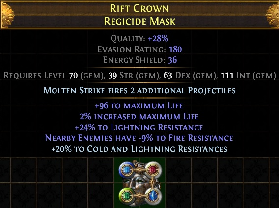 Path of Exile Molten Strike Juggernaut Helmet