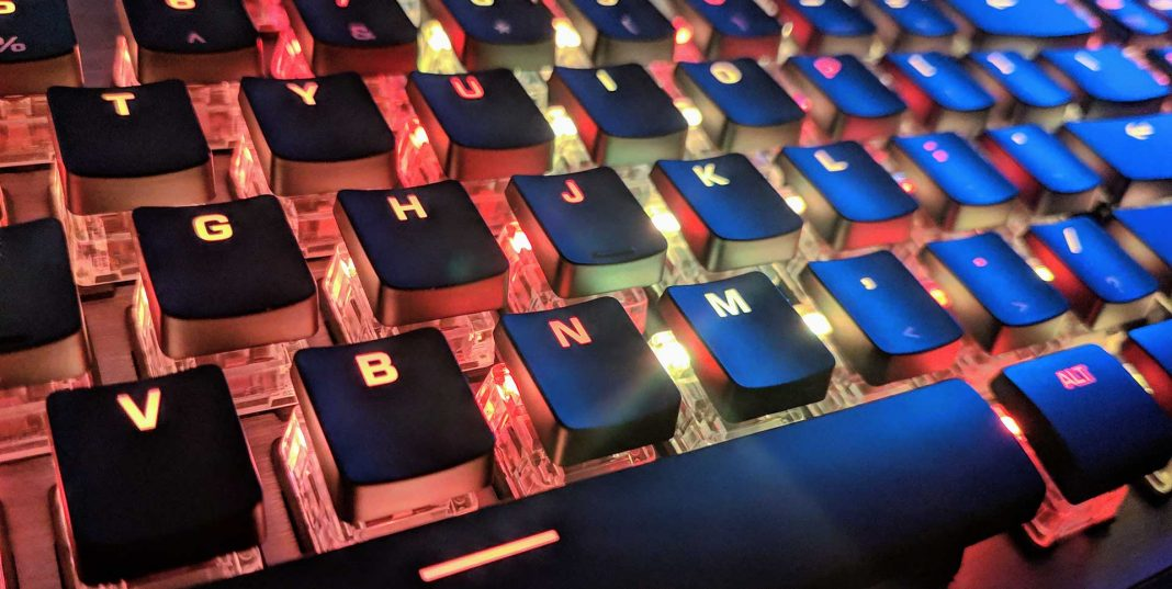 A close up of the ROCCAT Vulcan 120 AIMO keyboard.